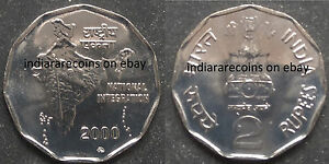 India Coin Minted In Moscow Mint Russia Key Date 2 Rupees UNC New 2000