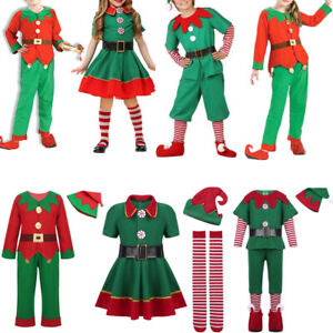 Kids Men Women Boys Girls Christmas Elf Fancy Dress Xmas Cosplay Costume NEW