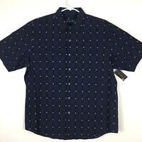 Tasso Elba Mens Grid Plaid Short Sleeve Button Down Shirt Blue L