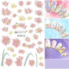 Nail Art Water Decals Stickers Transfers Dusty Pink Yellow Flowers Fern (XF3015)
