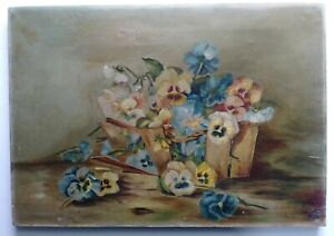 19/20TH. CENTURY AMERICAN STILL LIFE PANSIES W/BASKET  OIL/CANVAS PAINTING