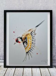 Large new Elle Smith original signed watercolour art painting Goldfinch bird
