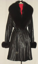 Black leather belted coat with removable black fox fur collar/cuffs
