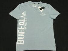 $52 NWT Mens Buffalo David Bitton T-Shirt NADAMI Split Neck Tee Blue Size M M746