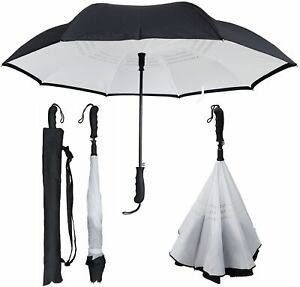 "RainStoppers Umbrella- 46"" Inverted Backward Inside Out  Black/White"