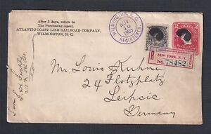 USA 1905 2x8C UPRATED REGISTERED 2C PS COVER WILMINGTON NC TO LEIPZIG GERMANY