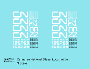 K4 N Decals Canadian National Diesel Locomotive White First Noodle Scheme