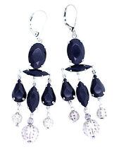 Stunning vintage retro style  black crystal chandelier earrings