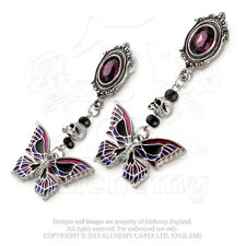 Deaths-Head Butterfly Earrings. Alchemy Gothic. Fine English Pewter