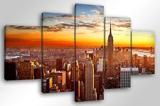 Quadro Moderno 5 pz. NEW YORK CITY  5 pz. cm 150x90 arredamento stampa su tela