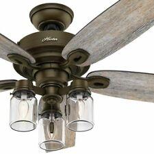 "Hunter 52"" Rustic Style Regal Bronze Mason Jar 3 Light LED Remote Ceiling Fan"