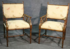 Pair of French Regency Style Faux Bamboo Walnut Armchairs Dining Chairs