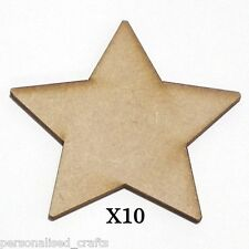 X10 Wooden MDF Christmas Xmas Star Shape Plaque & Card Making 80mm High