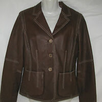 CAbi Leather Jacket Chocolate Brown Cropped Blazer Runs Small Women's Size 8