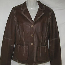 CAbi Leather Jacket Chocolate Brown Cropped Blazer Runs Small Womens Size 8