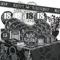 18/18TH Birthday BLACK/SILVER GLITZ Party Range (Birthday/Plates/Napkins/Banner)