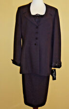 NWT Albert Nipon Dress Eggplant (dark purple) Sequin 3 Piece Skirt Suit size 16