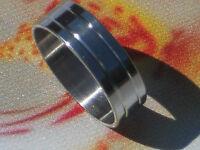 RING EDELSTAHL RING mit 2 Einbuchtungen/Streifen  RING NEU GR 17-22