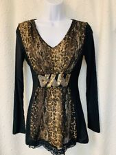 Venus long sleeved V-neck blouse - NWT - size XS  lace & beads - silky & light