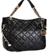 🌞MICHAEL KORS SUSANNAH BLACK QUILTED CHAINED MEDIUM SHOULDER TOTE BAG🌺NWT!