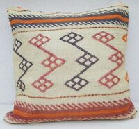 "24 X 24""Turkish Kilim Pillow Rug Vintage Cushion Cover Antique Pillows Sofa Art"