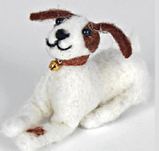 Pin Felt Needle Felted Collectible Lucky White & Brown Dog Puppy Figure Ornament