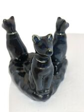 Three Egyptian Cats Blue Ceramic Voltive Candle Holder