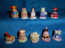 WEDDING Layered Tiered CAKES Set 10 Mini Figurines FRENCH Tiny Porcelain FEVES