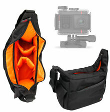 Black & Orange Durable Shoulder Sling Bag for Garmin VIRB Ultra 30 Action Camera