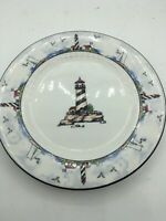 """Lighthouse Salad Plate(s) 7.75"""" Nautical By the Sea Totally Today Stoneware Blue"""
