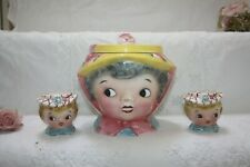 Quirky Biscuit Barrel & Cruet Girls Head Miss Dainty Japanese c 1950's   8