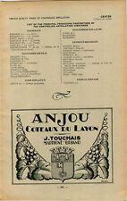 ADVERT Vineyard Wine Anjou Coteaux du Layon Chateau de la Roche Robin Thuleau