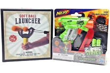 NERF Zombie Strike Clampdown Jolt & Soft Ball Slingshot Toy Bundle NEW