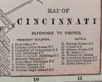 """Vintage 1900 CINCINNATI OHIO Map 14""""x11"""" ~ Old Antique Original DELHI OAKLEY OH"""