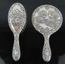 More details for sterling silver vanity mirror & hair brush reynolds cherubs angels children 1957