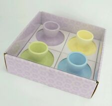 Williams Sonoma Speckled Egg Cups Set of 4 Pedestal Pastels Easter Spring