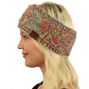 CC Winter Fuzzy Fleece Lined Thick Knitted Headband Headwrap Earwarmer