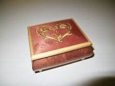 Double Heart Designed Rosewood Jewelry Box The San Francisco Music Box Co. Italy