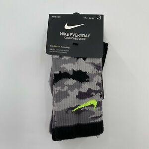 Nike Everyday Cushioned Crew Socks Gray Camo/Black Kid's Youth S/3-5 SX6383-923