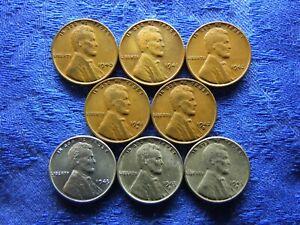 USA 1 CENT 1940-1942, S: 1941, 1942 KM132, 1943 AU stain, 1943D, S, KM132a(8)