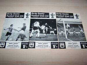 3 Football Programmes -  Derby County v Crystal Palace - 1969 / 70
