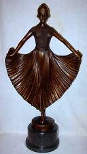 Art Deco Dancer Sculpture Signed Chiparus Bronze Statue