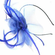 Looped Net and Feather Hair Fascinator Black Alice Band Pink Green Blue Purple