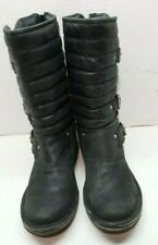 UGG WOMEN'S  WINTER LEATHER BLACK MID-CALF BOOTS GREAT PRE-OWNED SIZE 6