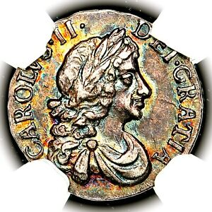Very Rare 1682 King Charles II Great Britain England Silver Penny NGC MS64