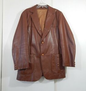 VINTAGE 70s LEATHER JACKET blazer sport coat two button brown western long 44L