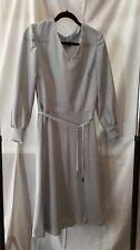 Vintage Handmade1970's Grey V Neck Long-sleeve Dress Size 12