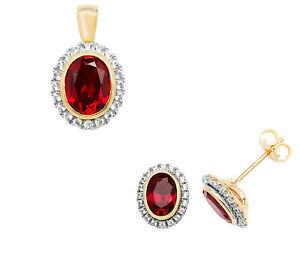 Ruby Pendant and Earrings Set Solid 9k Yellow Gold White Sapphire Hallmarked