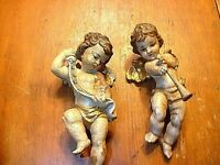 "Pair of Antique 8"" Hand Carved & Painted Wooden Cherub Angels Putti Figurines"