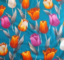 """Alexander Henry Collection Cotton Fabric TULIP FLOWER on Teal Blue 44""""W 3 Yards"""